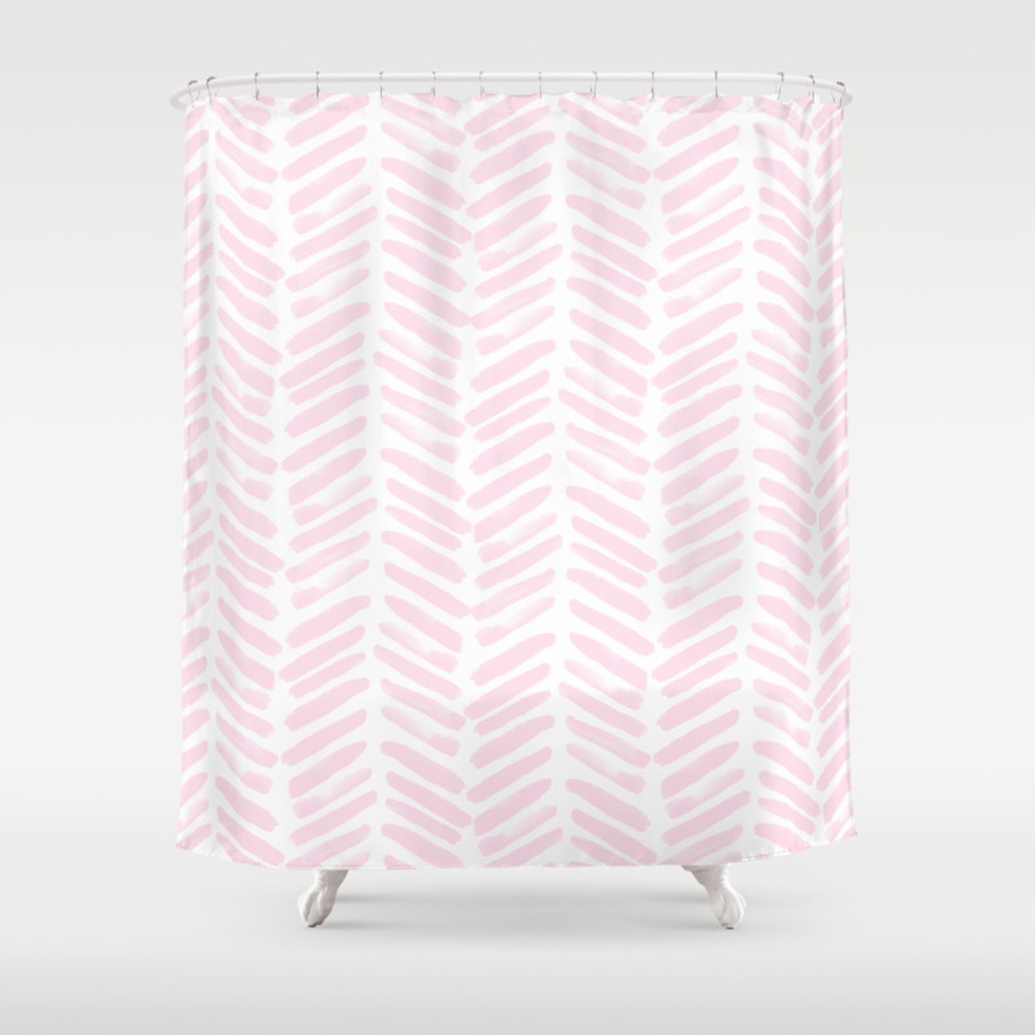 Handpainted Chevron Pattern Light Pink Stripes Shower Curtain