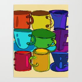 Tea Cups and Coffee Mugs Spectrum Poster
