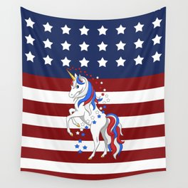 American Flag Stars and Stripes Unicorn Wall Tapestry