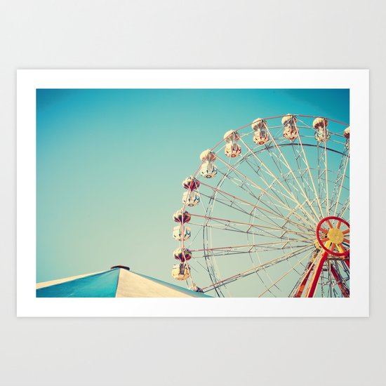 I Don't Want Love, Ferris Wheel on Blue Sky Art Print