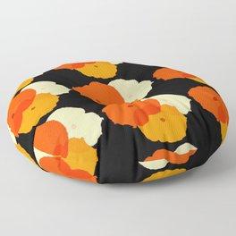 Retro Poppies orange yellow with black background Floor Pillow