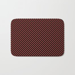 Black and Aurora Red Polka Dots Bath Mat