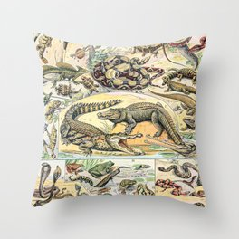 Reptiles by Adolphe Millot // XL 19th Century Snakes Lizards Alligators Science Textbook Artwork Throw Pillow