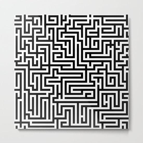 Black and white Labyrinth Metal Print