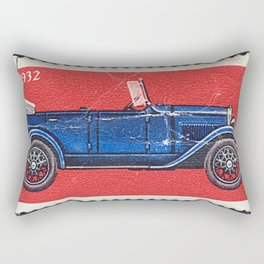 Postage stamp printed in Soviet Union shows vintage car Rectangular Pillow