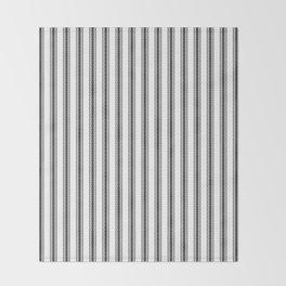 Black and White English Rose Trellis in Mattress Ticking Stripe Throw Blanket