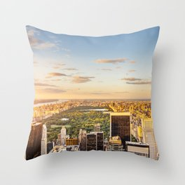 Central park at sunset - aerial view Throw Pillow