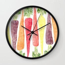 Rainbow Carrots (Wide) Wall Clock