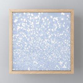 Baby blue white elegant faux glitter pattern Framed Mini Art Print