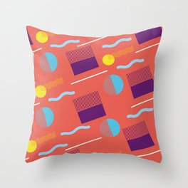 RETRO WARM TONE 80S GEOMETRIC PATTERN Throw Pillow