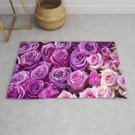 Romantic purple and pink blooming roses rose flower  Rug
