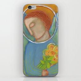 the angel with flowers II iPhone Skin
