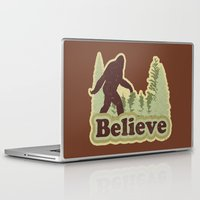 bigfoot Laptop & iPad Skins featuring Bigfoot Believe by Heather Green