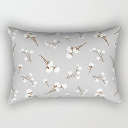 Cute Cotton Flower Seamless Pattern with Gray Background Rectangular Pillow