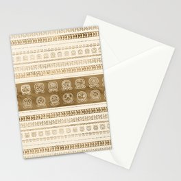 Maya Calendar Glyphs gold on pastel beige Stationery Cards