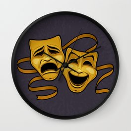 Gold Comedy And Tragedy Theater Masks Wall Clock