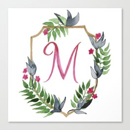 Jungle Gold Monogram Crest M Canvas Print