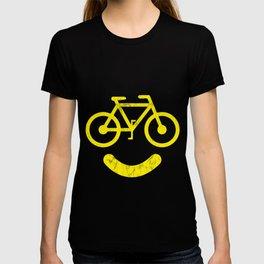 Smiley Face Bike - Fun Cycling Tee For Cyclists print T-shirt