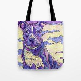 Rainbow Blue Nose Pitbull Tote Bag