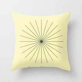 SpikeyBurst - Pastel Yellow with Black Throw Pillow
