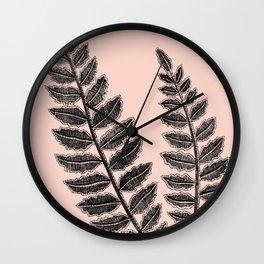 Black Lace Fern Blush Peach Wall Clock