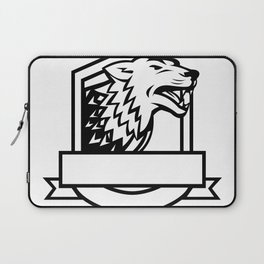Wolf Growling Crest Retro Laptop Sleeve