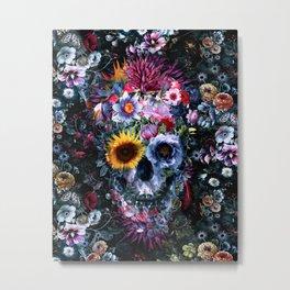 Voodoo Skull Floral Metal Print
