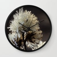 weed Wall Clocks featuring frosty weed by Bonnie Jakobsen-Martin