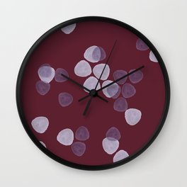 Bright Spring Petals in Burgundy Wall Clock