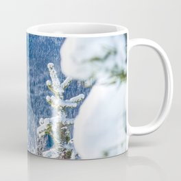 Powder Forest // Through the Trees Blue Snow Cap Mountain Backdrop Coffee Mug