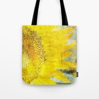 sunflower Tote Bags featuring Sunflower by Maria Heyens
