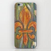 fleur de lis iPhone & iPod Skins featuring Fleur De Lis by Crystal Nero