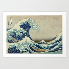 The Classic Japanese Great Wave off Kanagawa Print by Hokusai Art Print