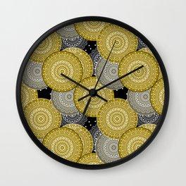 Abstract retro, olive and black, circles, retro pattern, sixties Wall Clock