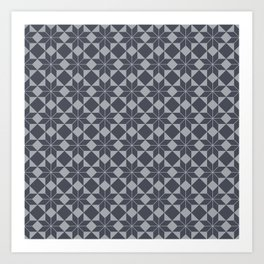 8 Point Star Pattern (Industrial Blue Grey on Dove Grey) Art Print
