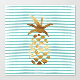 Pineapple & Stripes - Mint/White/Gold Canvas Print