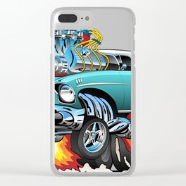 Classic Fifties Hot Rod Muscle Car Cartoon Clear iPhone Case