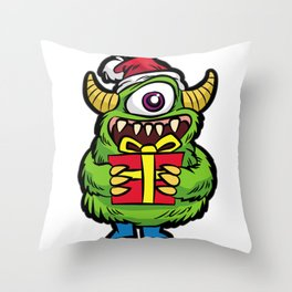 CUTE CHRISTMAS MONSTER WITH PRESENT Throw Pillow