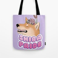 shiba Tote Bags featuring Shiba Pride by Cheesey