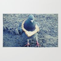 hiphop Area & Throw Rugs featuring HipHop Dove Walk by Sigurdfisk