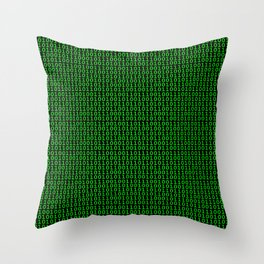 Binary Green Throw Pillow