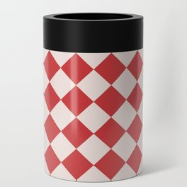 Red and White Checkered Diamond Pattern Can Cooler
