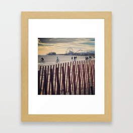 People cycling on Santa Monica beach, California, USA Framed Art Print