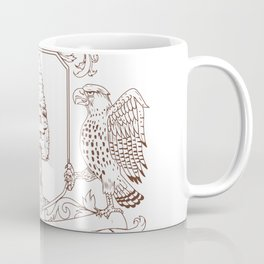 Owl and Hawk Redwood Crown Crest Drawing Coffee Mug