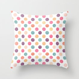 Watercolor Dots Pattern Throw Pillow
