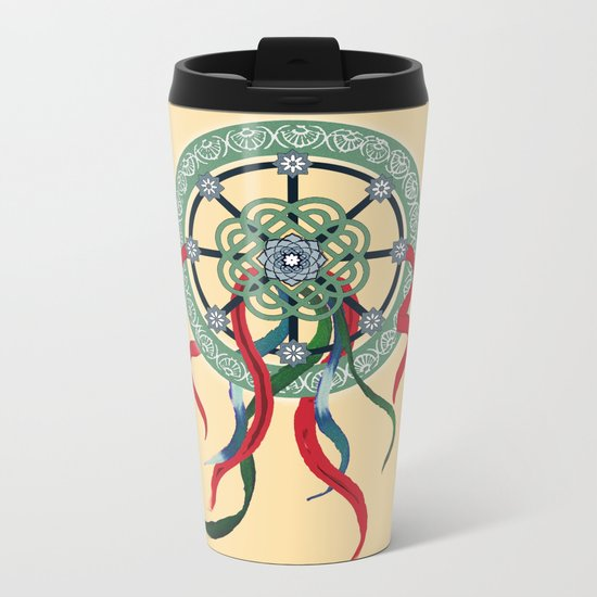 Mandala with Ribbons Metal Travel Mug