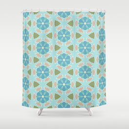 Ginsberg blue geo floral Shower Curtain