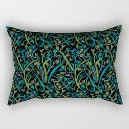 Dark Watercolor Grass and Field Flowers Pattern on Black Rectangular Pillow