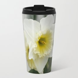 White and yellow daffodils, early spring flowers Travel Mug