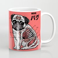 anatomy Mugs featuring Pug Anatomy by Huebucket